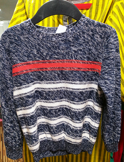 Boys White Striped Sweater